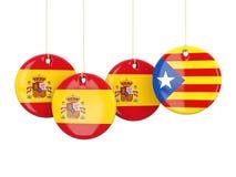 Rundaflaggor av Spanien och Catalonia Royaltyfri Foto