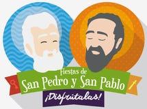 Rundaknappar med helgon Peter och Paul Faces för festmåltiden, vektorillustration royaltyfri illustrationer