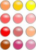 Rundaknappar - värme färger Arkivbild
