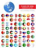 Rundalägenhetflaggor av Asien den färdiga uppsättningen vektor illustrationer
