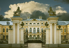 RUNDALE, LATVIA - SEPTEMBER 15, 2013: The public governmental museum - Rundale palace (Latvia) was established by Russian monarch. Today, the palace is one of Royalty Free Stock Photo
