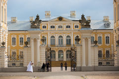 Rundale palace, former summer residence of Latvian nobility with a beautiful gardens around Stock Images