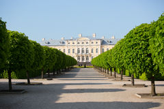 Rundale palace, former summer residence of Latvian nobility with a beautiful gardens around Royalty Free Stock Photo
