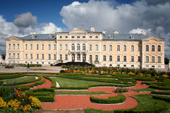 Rundale Palace garden. Rundale, Latvia - September 10, 2011: A baroque palace is standing in the suburbs of Rundale, Latvia. It was built in the middle of the Royalty Free Stock Photos