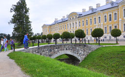 Rundale Pils,Latvia-august 24:Rundale Palace from Bauska in Latvia Royalty Free Stock Photo
