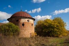 Rundan står hög Fördärvar av den Saburovo fästningen i den Orel regionen Arkivbilder