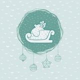 Rundaram för jul och för nytt år med slädesymbol greeting lyckligt nytt år för 2007 kort vektor illustrationer