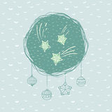 Rundaram för jul och för nytt år med stjärnasymbol greeting lyckligt nytt år för 2007 kort royaltyfri illustrationer