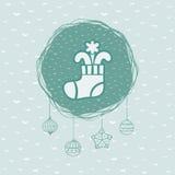 Rundaram för jul och för nytt år med strumpasymbol greeting lyckligt nytt år för 2007 kort royaltyfri illustrationer