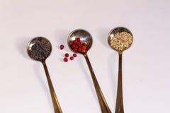 Rundaskedar med smakliga kryddor för att laga mat Arkivfoton