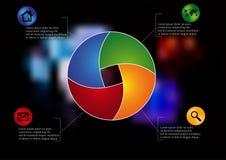 Rundat infographic för illustration som delas till fyra delar Arkivbild