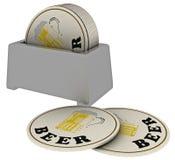Runde Bierauflagen Stockfoto