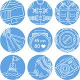 Runde blaue Ikonen für das Tauchen Lizenzfreies Stockfoto