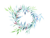 Runde Blumenrahmenweinlese mit Blumen mit Grün Lizenzfreie Stockfotos