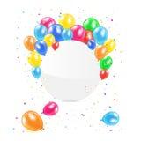 Runde Fahne mit Ballonen Lizenzfreies Stockfoto
