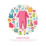 Runde Fahne mit Kindheit ` s Muster Neugeborenes Personal für Dekoration Kreisen Sie Designschablonen für Karte, Einladung mit ei Lizenzfreie Abbildung