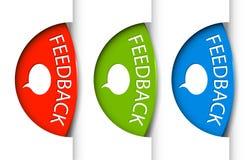 Runde Feed-backtabulatoren auf dem Rand der (Web-) Seite Lizenzfreie Stockfotos