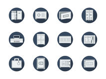 Runde flache Ikonen der Lagerschränke und der Safes Lizenzfreie Stockbilder