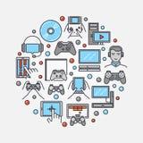 Runde flache Illustration der Gamers stock abbildung