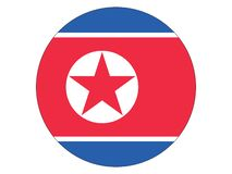 Runde Flagge von Nordkorea vektor abbildung