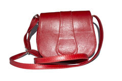 Runde Form der roten Ledertasche auf weißem Hintergrund Stockfotos