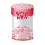 Runde Geschenkbox mit Bogen und rosa Spitzemuster vektor abbildung