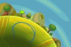 Runde grüne Hügel mit Bäumen lizenzfreie abbildung