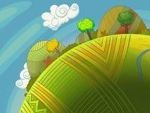 Runde grüne Hügel mit Bäumen und Himmel mit Wolken vektor abbildung