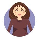 Runde Ikone des süßen Avataras des jungen Mädchens stock abbildung