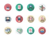 Runde Ikonen der Produktausstellungsraum Farbeingestellt Stockfotografie