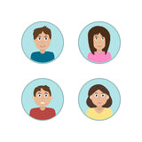 Runde Ikonen der Vektorcharaktere eingestellt Lizenzfreie Stockbilder