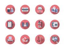 Runde Ikonen des Gesundheitswesens Farbeingestellt Stockfotografie