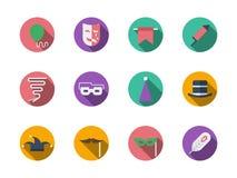Runde Ikonen des Maskeradezubehörs Farb Lizenzfreie Stockbilder