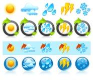 Runde Ikonen des Wetters Lizenzfreie Stockfotos