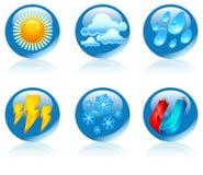 Runde Ikonen des Wetters Stockfotos