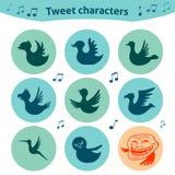 Runde Internet-Ikonen des Tweetvogelsocial media Lizenzfreie Stockbilder