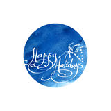 Runde kalligraphische Grüße wünscht frohe Feiertage Stockbild