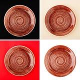 Runde keramische Platte Browns mit gewundenem Muster lizenzfreies stockfoto