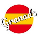 Runde Knopf Ikone der Staatsflagge von Spanien mit den roten und gelben Farben und der Aufschrift des Stadtnamens: Granada in mod vektor abbildung