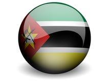 Runde Markierungsfahne von Mosambik Lizenzfreie Stockfotografie