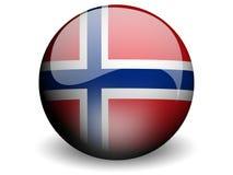 Runde Markierungsfahne von Norwegen stock abbildung