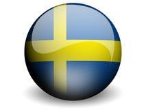 Runde Markierungsfahne von Schweden Lizenzfreie Stockfotografie