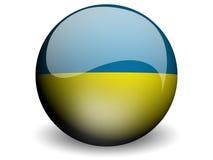 Runde Markierungsfahne von Ukraine Stockbild