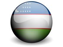 Runde Markierungsfahne von Uzbekistan Lizenzfreies Stockbild