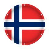 Runde metallische Flagge von Norwegen mit Schraubenlöchern Stockbilder