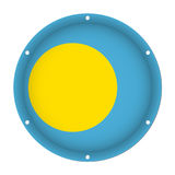 Runde metallische Flagge von Palau mit Schraubenlöchern Stockfotos