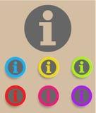 Runde metallische Knöpfe Informationssprache-Blasensymbol Stockfoto