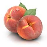 Runde Pfirsiche auf weißem Hintergrund Stockbild
