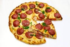 Runde Pizza mit Fleisch 10 Stockbild