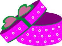 Runde purpurrote Geschenkbox Lizenzfreie Stockbilder